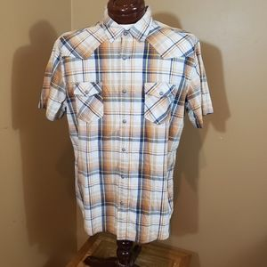 Aeropostale XL blue/yellow/wht plaid casual shirt